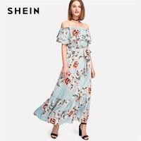 SHEIN Ruffle Off The Shoulder Floral Print Dress Women Sleeveless Belted Shift Maxi Dress 2018 Summer