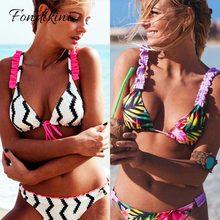 2019 Hot Retro Sexy Women Swimsuit Ruffled Micro Bikini Set Bathing Suits With Halter Strap Swimwear Brazilian bottom Biquinis
