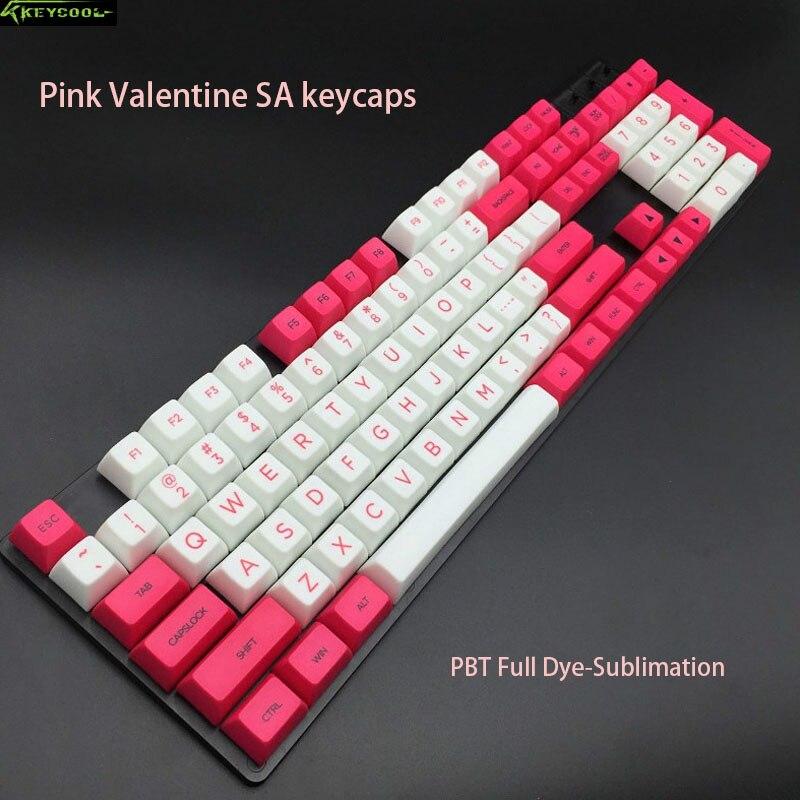 New arrival Novel Top Unaligned Printed Keyboard Keycaps PBT Pink Valentine SA Keycap Serie For All standard mechanical keybaord все цены