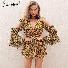 Simplee Sexy con scollo a v stampa del leopardo delle donne playsuit Elegante freddo spalla breve tuta del pagliaccetto Fiocchi e Fasce estate tute casuali 2019