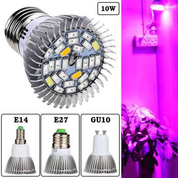 85-265V 5730SMD 28 Led Light Full Spectrum Greenhouse Hydroponic Grow Plant Light E27 E14 GU10 10W Bulb Lamp For plant breeding image