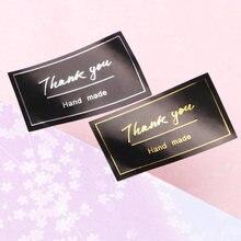 60 шт/лот новая наклейка «спасибо» винтажные черные наклейки