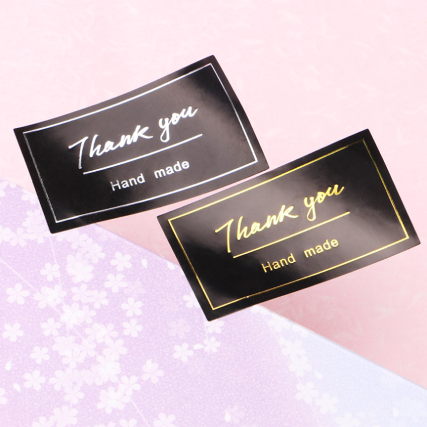 60pcs/lot New Thank You Sticker Vintage Black Stickers Kraft Label Sticker DIY Hand Made For Gift Cake Baking Sealing Sticker