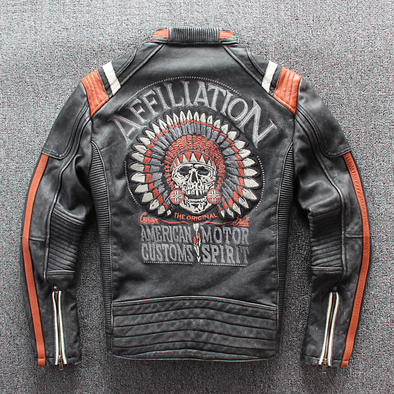 2018 Vintage Black Men Leather Motorcyclist Jacket Skull Embroidery Plus Size 3XL Genuine Cowhide Short Biker Coat FREE SHIPPING