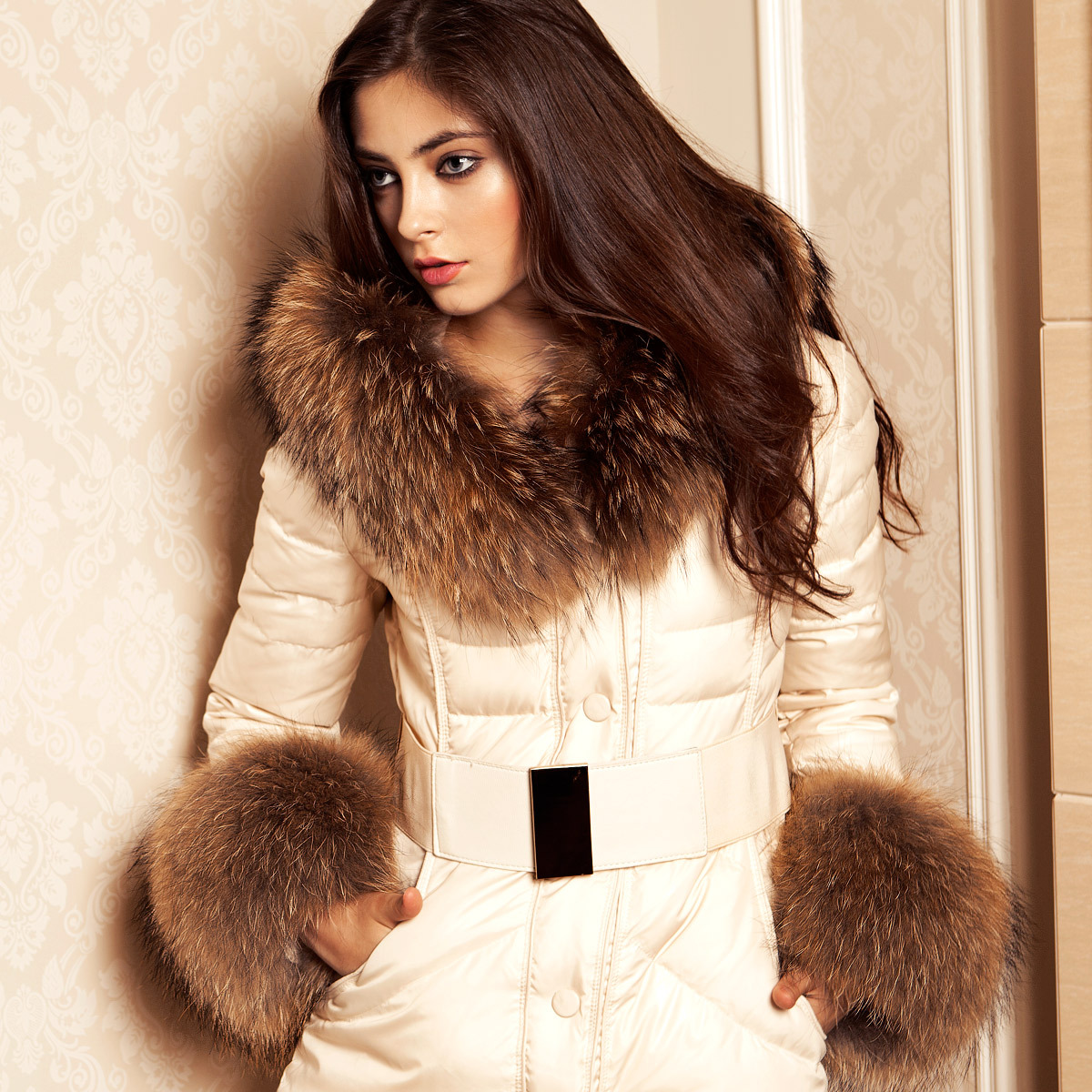 Online Shop 2012 women's luxury large fur collar slim fur down ...