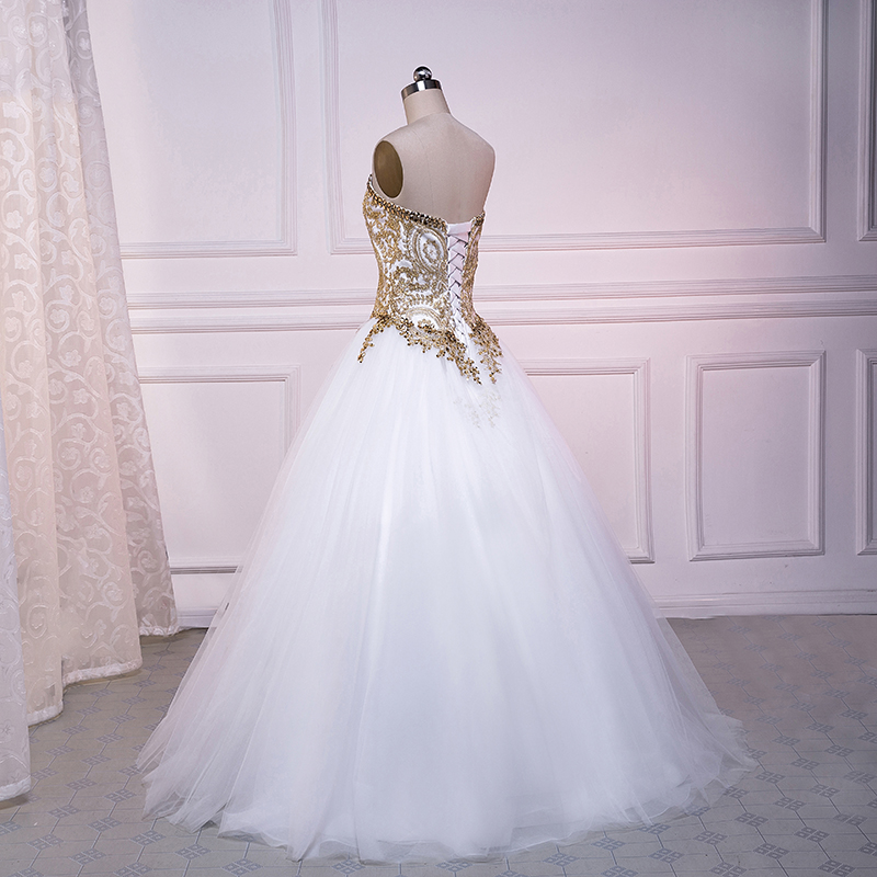 Beauty Emily White Gold Ball Gown Lace Weeding Dresses 2018 ...
