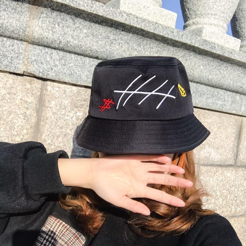 Adaptable Panama Bucket Hats New Fashion Harajuku Brand Special Design Snapback Caps Fish Bone Embroidery Hip Hop Men Women Bucket Caps