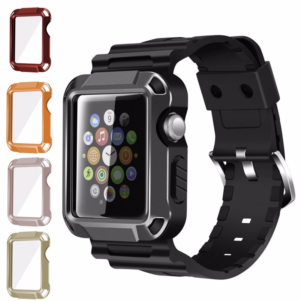 Universal <font><b>Watch</b></font> Cover and Band with <font><b>Screen</b></font> <font><b>Protector</b></font> 5 in 1 kit for Apple <font><b>Watch</b></font> Series 3/2/1 38mm 42mm