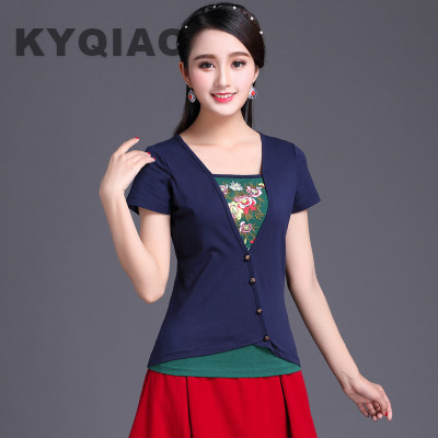 KYQIAO Ethnic t shirt 2019 women summer Mexico style hippie designer v neck black blue embroidery patchwork t shirt tee top