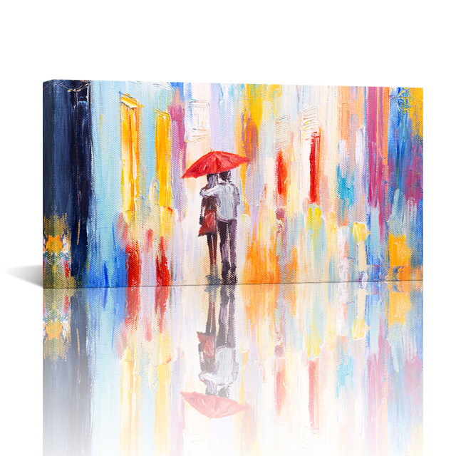 61d4834f2 Lovers in the Rain Red Umbrella Romantic Wall Pictures Abstract Oil Painting  HD Canvas Art Prints for Living Room 1Piece 20x36in