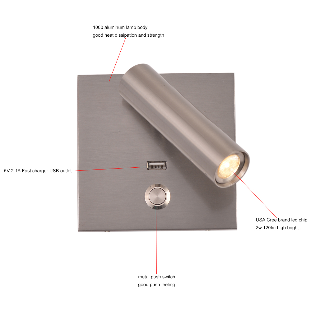 Image 5 - ZEROUNO LED wall Light with switch Bedroom indoor lighting bedside Wall lamp USB night LED Reading 3W LED wall Sconce luminaria-in LED Indoor Wall Lamps from Lights & Lighting