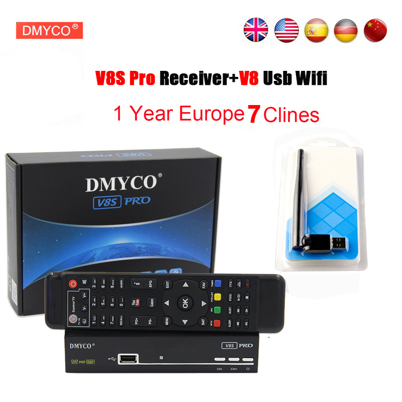 1 Year Europe Cline Server HD DMYCO Spain V8S PRO DVB-S2 Satellite Receiver Full HD 1080P With USB WIFI Antenna V8S PRO Receptor