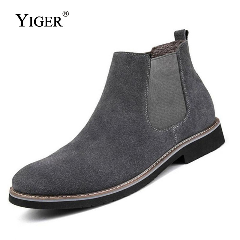 YIGER Men Chelsea Boots Ankle Boots Male Leather Slip Ons