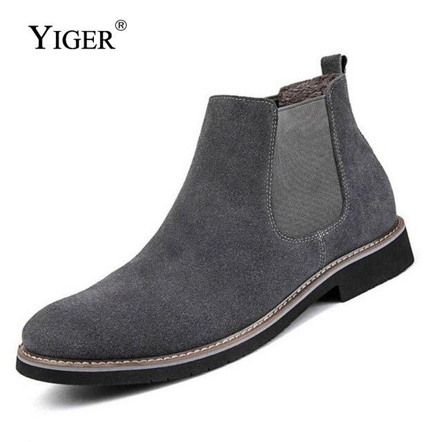 Tiger nowy mężczyźni Chelsea buty buty do kostki buty na moda męska męska marka skórzana jakości wsuwane buty motocykl człowiek ciepłe darmowa wysyłka 0013