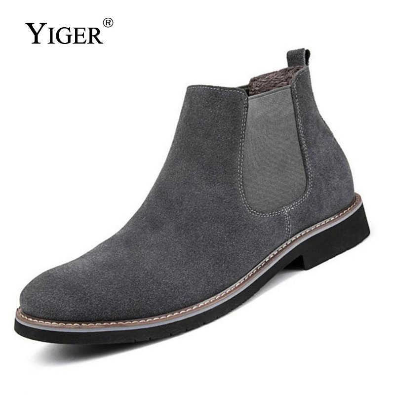 c9a37ba9 YIGER nuevos hombres botas de Chelsea botas de tobillo Moda hombre de marca  de cuero de