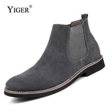 YIGER جديد الرجال تشيلسي الأحذية حذاء من الجلد موضة الرجال الذكور ماركة جلدية جودة الانزلاق Ons دراجة نارية رجل دافئ شحن مجاني 0013