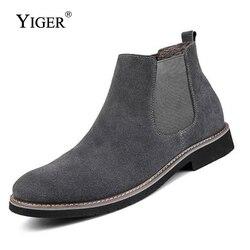 Yiger novos homens chelsea botas de tornozelo moda masculina marca couro qualidade deslizamento ons motocicleta homem quente frete grátis 0013