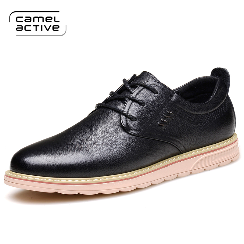 Camel Active 2018 New Men's Genuine Leather Casual Shoes Men Spring Autumn Men's Shoes Lace-Up Solid Men Flat with Shoes 1728 genuine leather men casual shoes wool fur warm winter shoes for men flat lace up casual shoes men s flat with shoes fashion