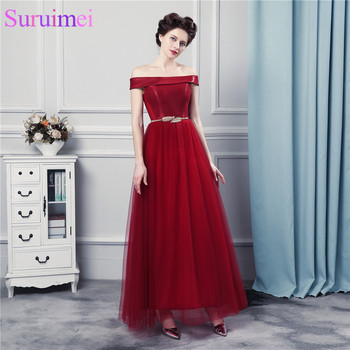 Burgundy Long Evening Dresses with Sashes Decoration Off The Shoulder Strapless Tulle Evening Gown Corset
