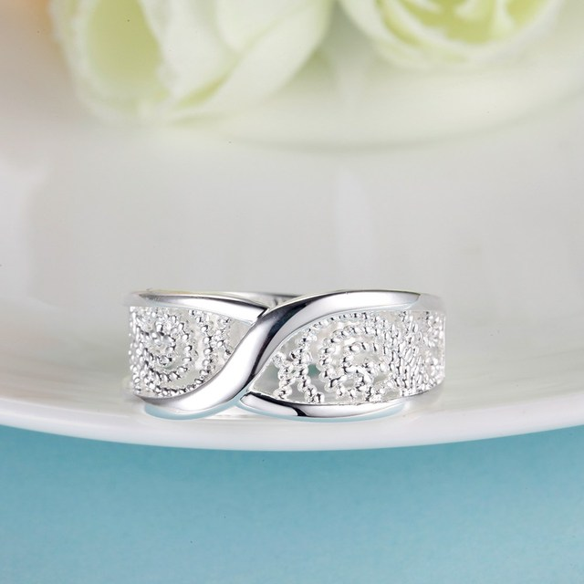 Gorgeous Rounded Hollow Shiny 925 Fashion Silver Plated Ring Engagemetn/Wedding Party Jewelry 4