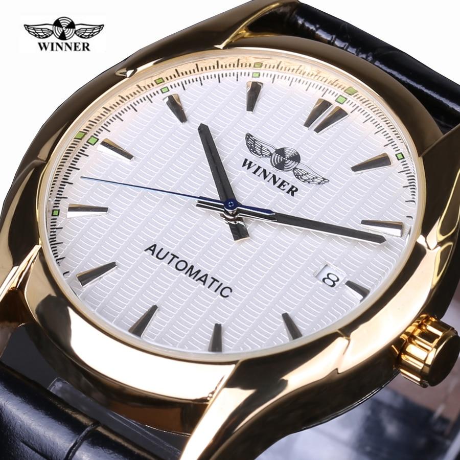 Winner Navigator Series Retro Golden Skeleton White Watch Automatic Men Leather Wristwatch Men Watch Automatic Luxury Top Brand t motor series mn3515 navigator series