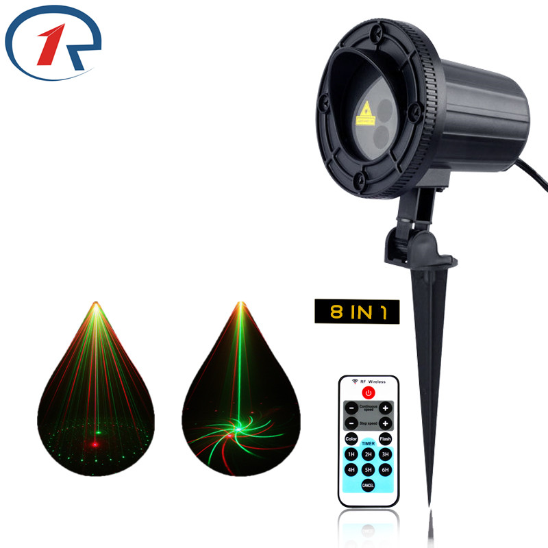 ZjRight Laser Light IR Remote 8 patterns Waterproof Christmas lights outdoor stage dj disco bar ktv projection garden headlamp transctego laser disco light stage led lumiere 48 in 1 rgb projector dj party sound lights mini laser lamp strobe bar lamps