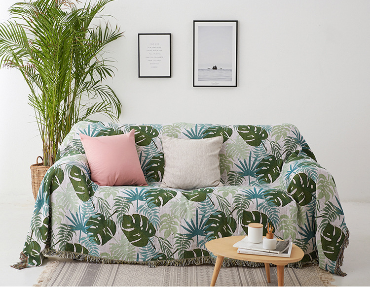 Green Leaves Plaids Blanket Carpet Throws Knit Chair Seat
