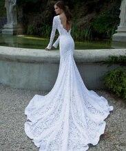 2015 Winter Vintage Berta Long Sleeve Backless Mermaid Wedding Dresses Vestidos Chapel Train Sheer Bridal Gowns