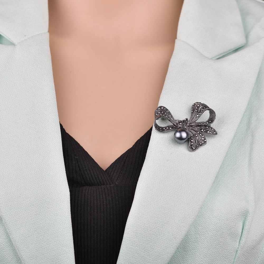 Terreau קתי בציר ריינסטון Bow סיכות לנשים שחור Bowknot סיכת פין תכשיטים מעיל אביזרי אלגנטי סגנון
