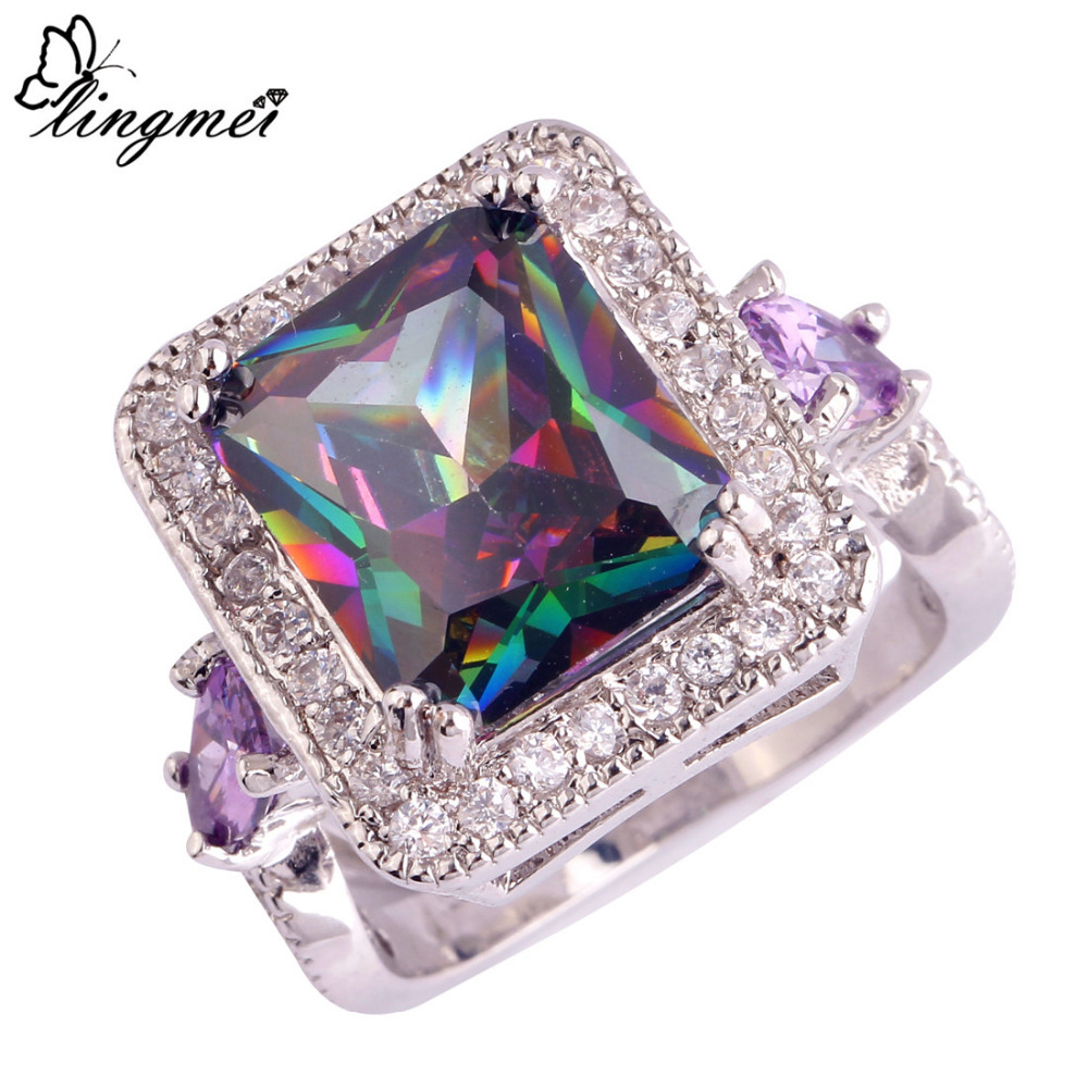 lingmei Noble Jewelry Mysterious Rainbow CZ Purple White CZ Silver Color Ring Size 6 7 8 9 10 11 Wholesale Free Shipping