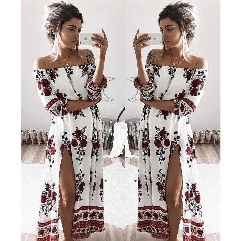 Bohemia de la manera mujeres de la raya vertical vestidos de cuello estampado fl
