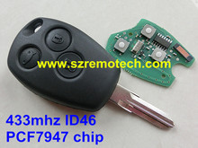 1pcs Free Shipping PCF7947AT electronic chip 3 buttons with VAC102 uncut Blade Fit For renault clio remote key 433mhz