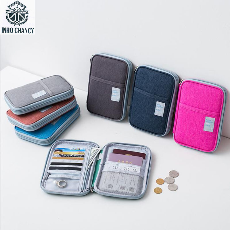 INHO CHANCY Fashion Portable Travel Accessories Waterproof Oxford Multifunction Passport Wallets Card Holders Money Purse Cheap