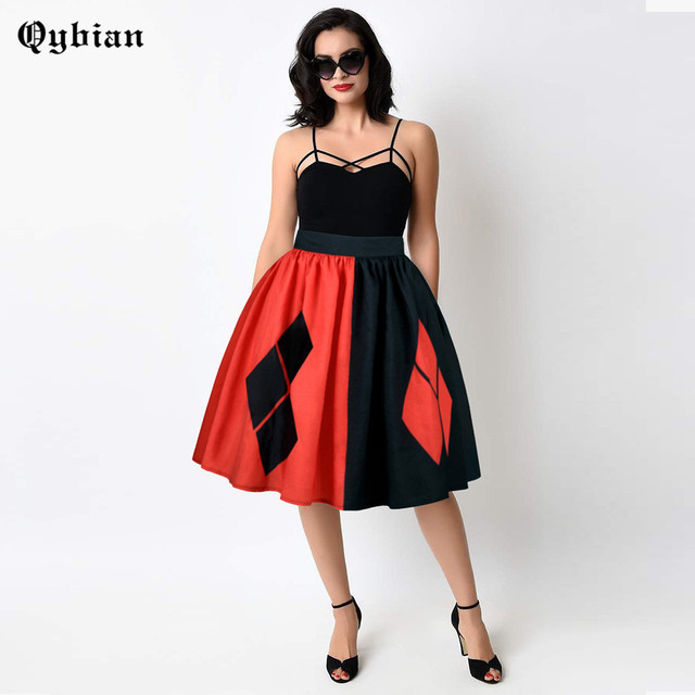 Qybian Chinese Style Women Skirts Red ank Black lattice Printed Ball Gown  High Elastic and Quality 9ccebc0a1173