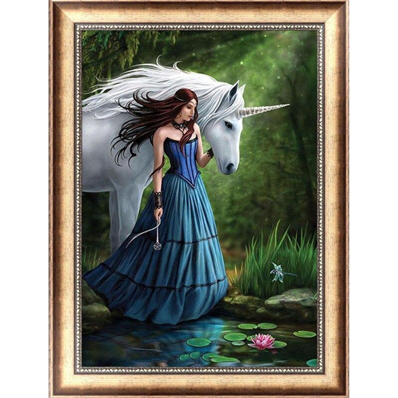 DIY 5D Diamond Switch Kit Embroidery Beauty & Horse Painting Mosaic Needlework Cross Stitch Home Decor Craft 30*40cm