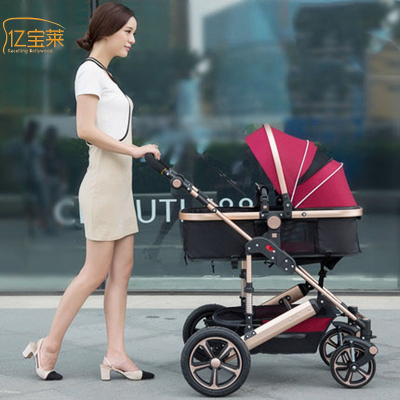 YIBAOLAI High landscape baby strollers can sit can be folded baby winter summer dual-use portable stroller baby stroller high landscape can be sitting can be folded folding winter and summer children s carts light baby carriages