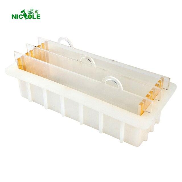 Formy silikonowe do mydła z przezroczystą pionową akrylową klapą biały prostokątny bochenek formy