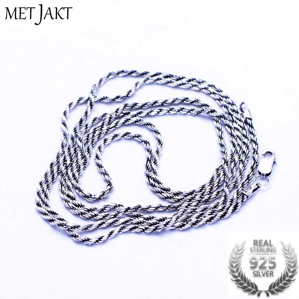 MetJakt Classic 1.3mm 925 Sterling Silver Link Chain Necklaces Fit Pendant Charm for Women Men S925 Jewelry Gift цена 2017