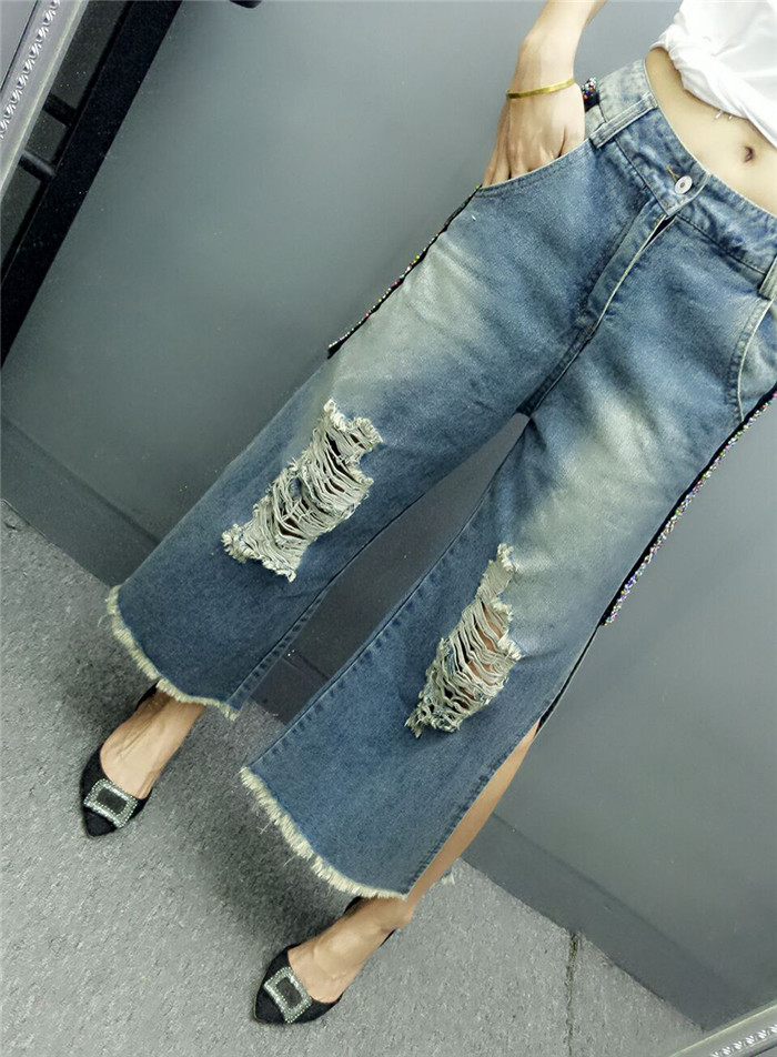 New Fashion Women Wide Leg Jeans hole Hollow Out Solid Side Spilt Vintage Color Cowboy Women Punk Style Denim Pants jones new york new solid winter white women s 8 wide leg dress pants $99 346