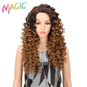 Magic Synthetic Wigs Lace-Front Cosplay 26inch Women Blonde Curly Heat-Resistant Brown