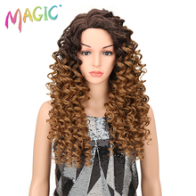 Magic Kinky Curly Synthetic Wigs Blonde Brown Mixed Color 26Inch Lace Front Wig For Women Heat Resistant For Cosplay Daily Wear