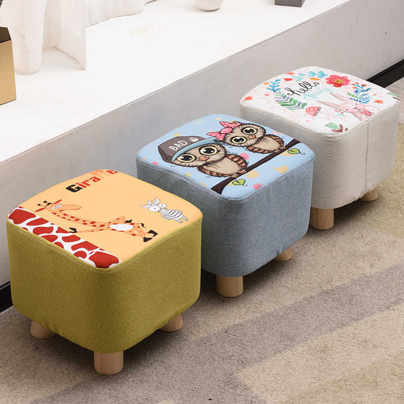 Outstanding Small Stool Fashion Chair Round Fabric Short Sitting Pier Home Adult Solid Wood Sofa Change Shoes Coffee Table Stool Children Be Theyellowbook Wood Chair Design Ideas Theyellowbookinfo