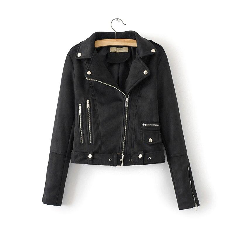 2019 Auturm Winter Women   Suede   PU Faux   Leather   Jackets Coats Lady Design Moto & Biker Zippers Matte Pocket Street Outerwear Belt