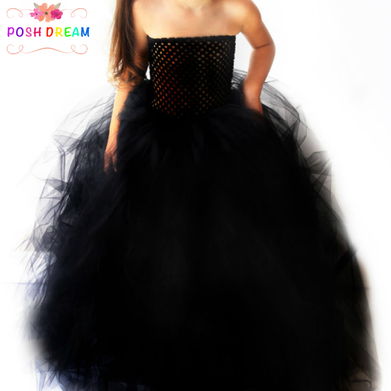 POSH DREAM Stunning Black Tutu Dress Flower Girl Pageant Gown Witch Halloween Costume Black Girls Baby Tutu Dress for PartyPOSH DREAM Stunning Black Tutu Dress Flower Girl Pageant Gown Witch Halloween Costume Black Girls Baby Tutu Dress for Party