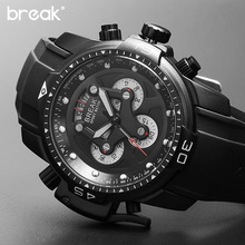 BREAK Unique Men Top Luxury Brand Casual Fashion Rubber Band Sport Wristwatches Man Quartz Chronograph Army Waterproof Watches