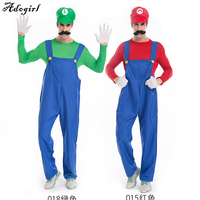 Super Mario Brothers Deluxe Mario Adult Costume Plumber Costume Jumpsuit Fancy Cosplay Clothing For Adult Men