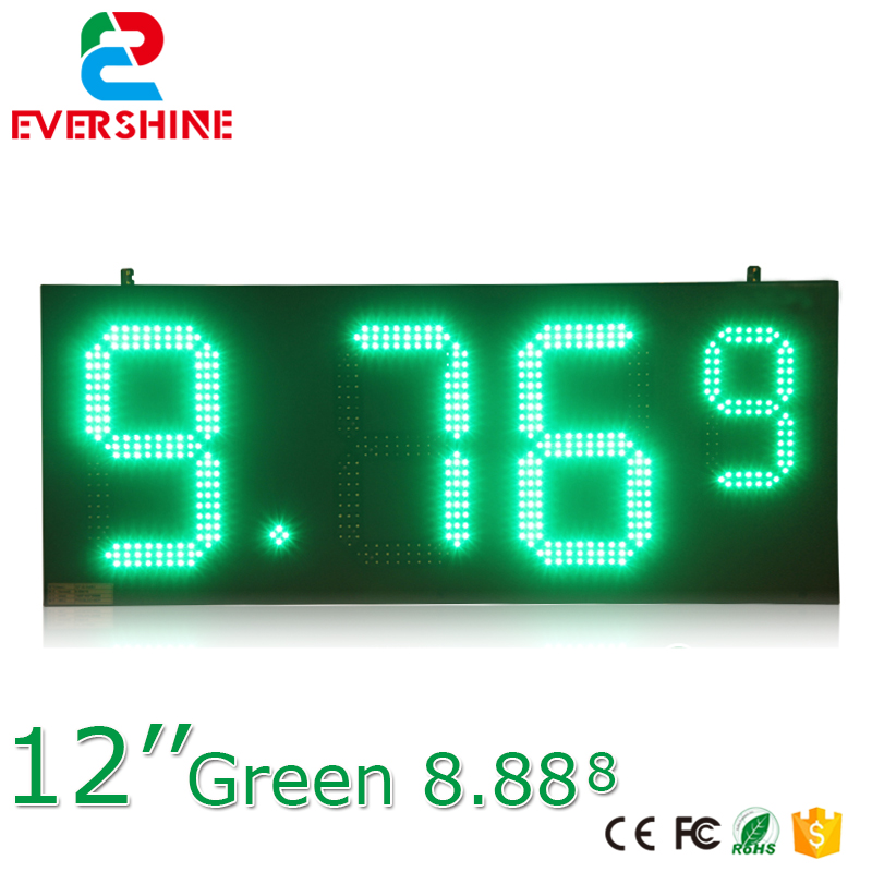 hd high quality led gas price display sign outdoor led billboard green color 12'' outdoor led display screen p7 outdoor dip full color led panel display module high resolution high brightness high refresh high quality
