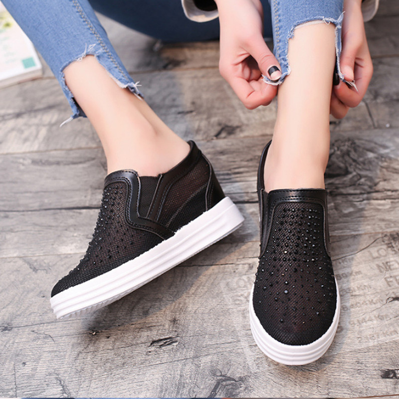 Summer Women Shoes Casual Cutouts Mesh Canvas Shoes Hollow Crystal Breathable Platform Flat Shoe Sapato Feminino 2017 summer women shoes casual cutouts lace canvas shoes hollow floral breathable platform flat shoe sapato feminino