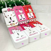 6 Colors Cartoon Kitty Universal Power Charger Socket 2 USB Charging Port Lovely Extension Travel Sockets