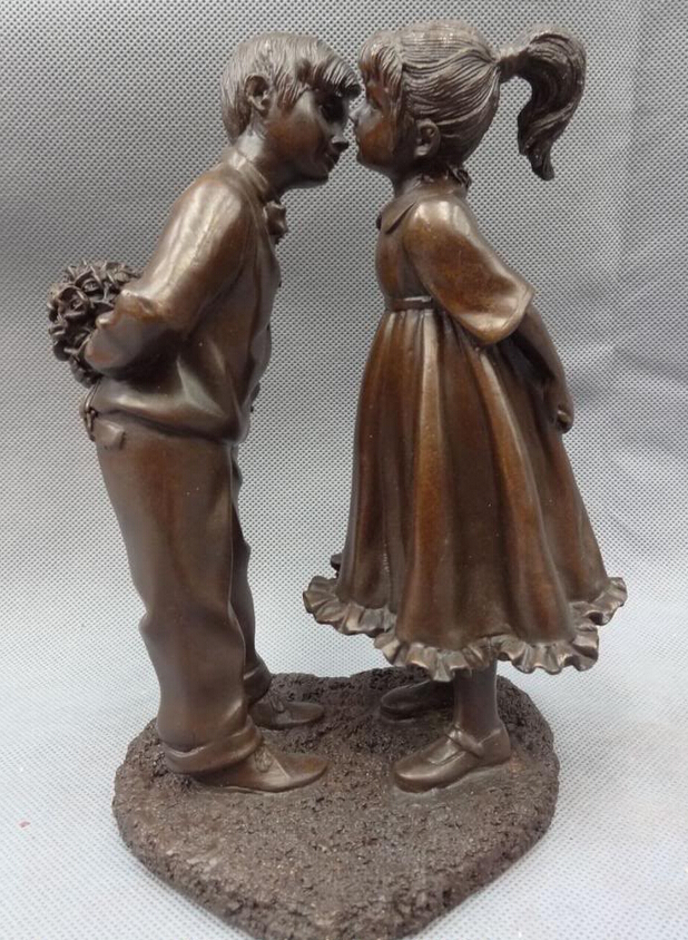song voge gem S3717 9 Chinese Bronze Flower Love Fellow Boy & Girl Together Kiss Statue On Heart image